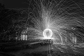 Steel Wool Spinning sphere 30 second exposure. Black & White
