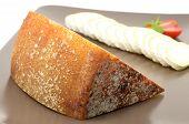 Pecorino di Pienza typical italian sheep cheese and sliced ??camembert