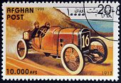 AFGHANISTAN - CIRCA 1999: A stamp printed in Afghanistan shows vintage car circa 1999