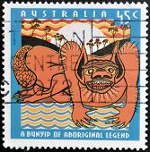 AUSTRALIA - CIRCA 1994: A stamp printed in Australai dedicated to aboriginal legend shows a nature s