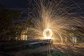 Steel Wool Spinning sphere 30 second exposure