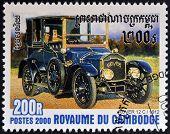CAMBODIA - CIRCA 2000: A stamp printed in Cambodia shows vintage car Rover 12 C 1912 circa 2000