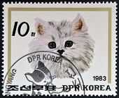 NORTH KOREA - CIRCA 1983: A Stamp printed in North Korea shows image of a Cat circa 1983