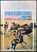 EQUATORIAL GUINEA - CIRCA 1976: stamp printed in Equatorial Guinea shows the conquest of the West