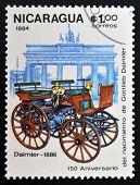 NICARAGUA - CIRCA 1984: A stamp printed in Nicaragua shows retro car Daimler 1886 circa 1984