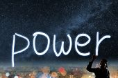 Concept of power, silhouette asian business woman light drawing.