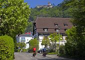 Tourists With Bicycles In Stein Am Rhein, Switzerland