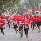 Athletes Taking Part In Deejay Ten, Running Event Organized By Deejay Radio In Milan, Italy