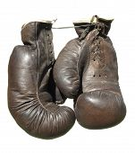 Old Brown Boxing Gloves Isolated On White Background.