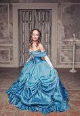 Beautiful Medieval Woman In Blue Dress