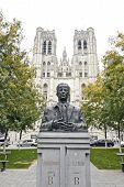 King Baudouin Statue In Front Of St. Michael And St. Gudula Cathedral In Brussels
