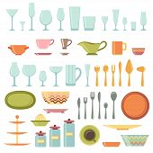 Kitchen utensils and cookware icons set