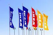 Samara, Russia - April 19, 2014: Ikea Flags Against Sky At The Ikea Samara Store. Ikea Is The World'