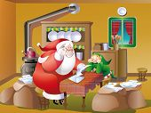 Vector santa Claus reading Mail