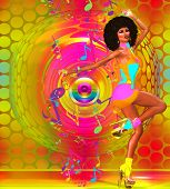 Retro Disco Dancer, Colorful Background