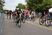 Cyclists Sprint Down Street At Start Of Georgia Criterium