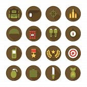 Military and war icons set. Army infographic design elements. Illustration in flat style.