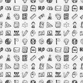 Seamless Doodle Back To School Element Pattern Background