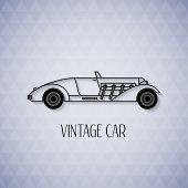 Retro cabriolet sport car, vintage outline style