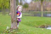 Sweet Toddler Girl Hiding Behind Tree In A Beautiful Autumn Park