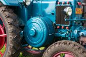 Closeup Of A Historic Old Tractor During A Dutch Agricultural Festival