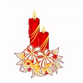 Christmas Candle with White Poinsettia  Vector