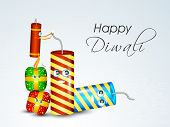 Happy Diwali celebration concept with firecrackers on shiny grey background for Happy Diwali celebrations.