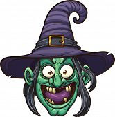 Cartoon witch face. Vector clip art illustration with simple gradients. All in a single layer.