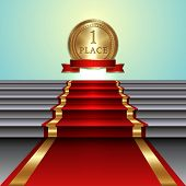Vector abstract illustration of red carpet on staircase and golden medal with ribbon and light backg