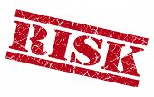 Risk Red Square Grunge Textured Isolated Stamp