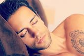 Sleeping beautiful man