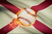 Baseball Ball With Flag On Background Series - Alabama