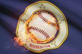 Baseball Ball With Flag On Background Series - Minnesota