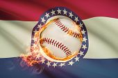 Baseball Ball With Flag On Background Series - Missouri
