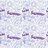 seamless pattern with sketch drawing summer vacation element