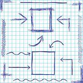 Arrows and frames sketchy design. Vector