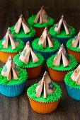 Cupcakes decorated with sugarpaste teepees
