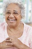 Senior African American woman wearing eyeglasses