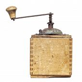 image of wooden box from coffee mill  - old coffee grinder isolated on a white background - JPG