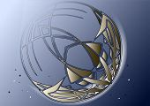 image of crescent-shaped  - abstract crescent moon with stars on night sky - JPG
