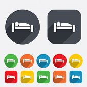 Human in bed icon. Rest place. Sleeper symbol.