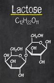 Blackboard with the chemical formula of Lactose