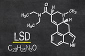 Blackboard with the chemical formula of LSD