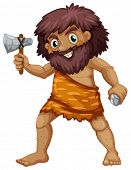 Illustration of a single caveman with weapons