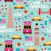 Seamless colorful retro style san francisco city travel icon illustration background pattern in vector