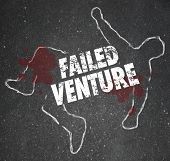 Failed Venture words on a chalk outline as a dead or killed unsuccessful startup business venture