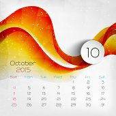 2015 Calendar. October. Vector Illustration