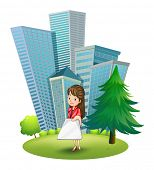 Illustration of a woman outside the office on a white background