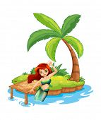 Illustration of a young mermaid in the island on a white background