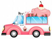 Illustration of a vehicle selling desserts on a white background